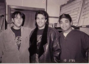 Tai Irwin with quarterback Doug Flutie and WFNX Program/Music Director Troy Smith in 1990