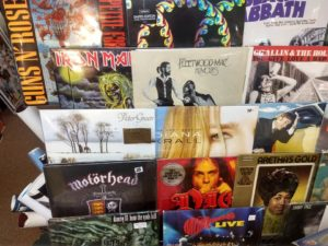 Vinyl records on display at the Nevermind Shop in Upton.
