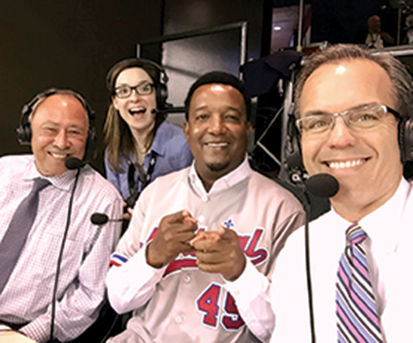 Tom Caron (right) poses for a selfie with Rex Sox veterans Jerry Remy (left) and Pedro Martinez (center).