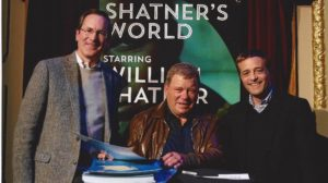 Emmy Award-winning actor William Shatner poses for a photo with Chart Productions co-owners Ken Carberry and Jordan Rich. Shatner has been a guest on Rich's radio show and podcast.