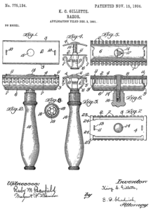 The patent for Gillette's pioneering invention, which changed the way the world shaves