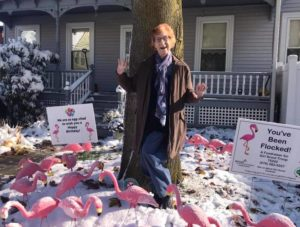 "Amid the first snowfall of the season, Jean Beddow-Arnth gets ""flocked"" by the Hudson Girl Scout Troop 75242 fundraiser on her 96th birthday, October 31, 2020."