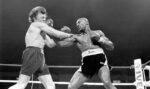 Marvin Hagler hits fellow boxer Tony Sibson during a fight at the DCU Center in Worcester in 1983. Photo/Alamy