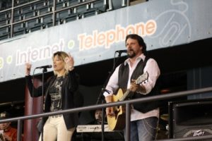 Susan Jayne and Mychael David entertain at a concert during a Worcester Sharks game at the DCU Center.