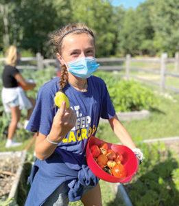 Windham middle school student in the school garden.