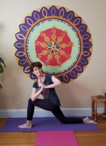 Barbara Lyon of Come to Yoga in her home studio, where she teaches her virtual classes during the COVID-19 pandemic.