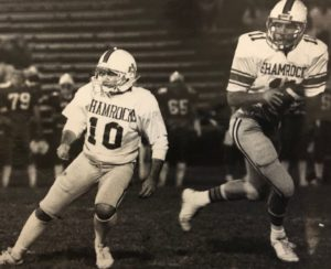Marlboro Shamrocks teammates Patrick Caruso and Chris Kane on the field in the 1980s