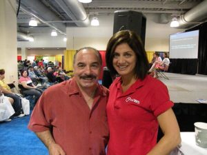 Frankie Imbergamo and WHDH-TV news anchor Kim Khazei pose together for a photo at the Health and Fitness Expo at Hynes Convention Center in Boston.