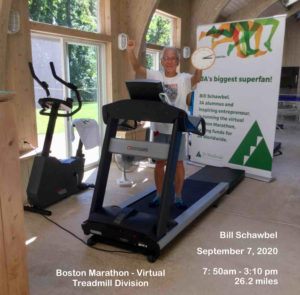 Bill Schawbel completes the Boston Marathon virtually on a treadmill, Sept. 7, 2020, to raise money for Junior Achievement, an organization that supports the development of young entrepreneurs. Photo/courtesy of Bill Schawbel