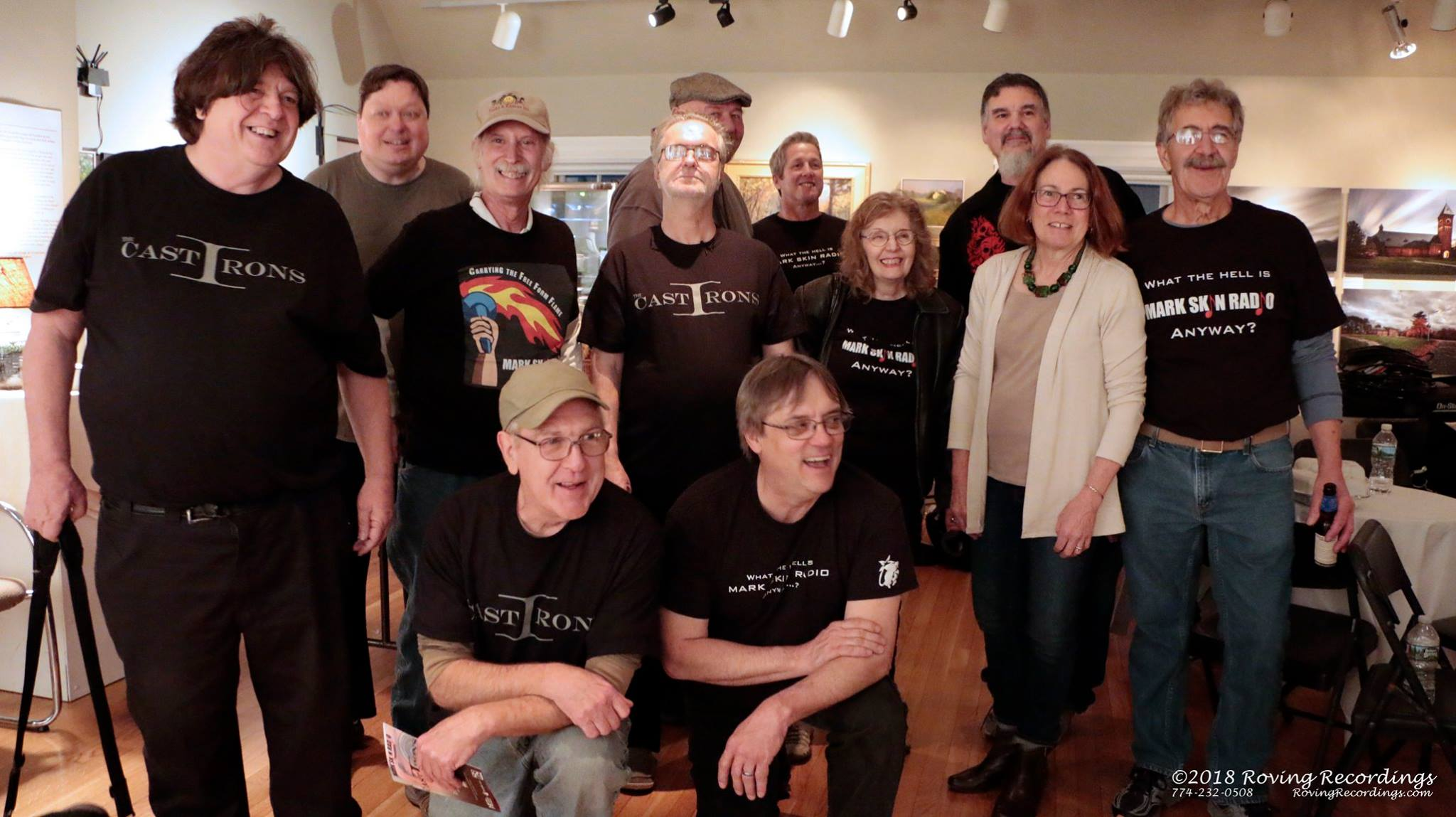 """Chris Johnson (front right) celebrated the first live event at the Zullo Art Gallery in Medfield with a group of DJs and the band """"The Cast Irons"""" after the show."""