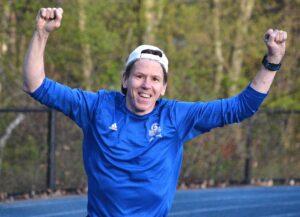 Dan Milton runs laps. He will run his 25th marathon this year.