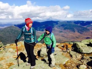 Connie Cao and son Enchee hike Mt. Lafayette and Franconia Ridge in 2014.
