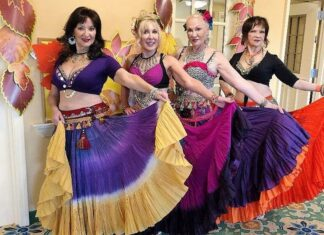 Silver Moon Gypsies belly dancers: (l to r) Gypsy Phillips, Anna Connors, Elaine Savoy and Alida Krumin