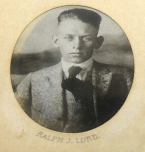 A photo of a recently found display of World War I veterans shows Ralph J. Lord, who died fighting abroad in 1918.