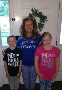 """Paula Cerulli poses with grandkids Kailyn and Ryan Croeber for their first day of """"Nana Camp."""""""