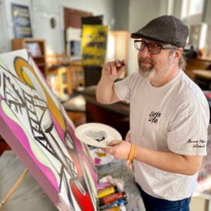 Stephen Beccia creates artwork. Photo/Jesse Power