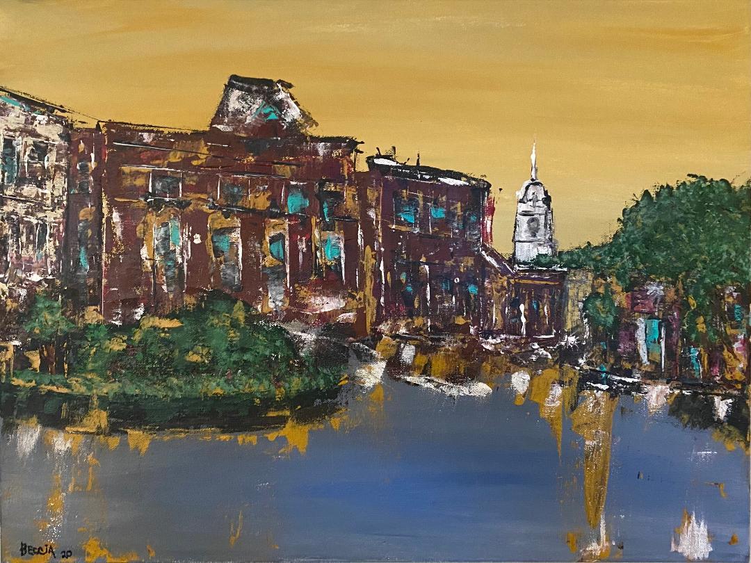 """Downtown Hudson MA"" – acrylic on canvas, 18"" x 24"" Image/Stephen Beccia"