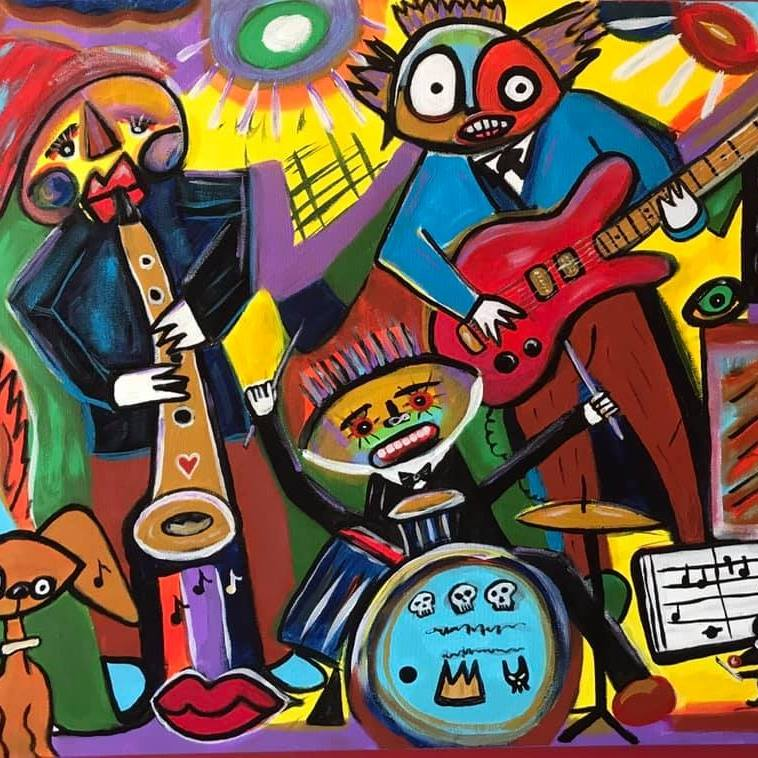 """""""Cats and a Dog"""" – acrylic on canvas, 24"""" x 36"""" Image/Stephen Beccia"""
