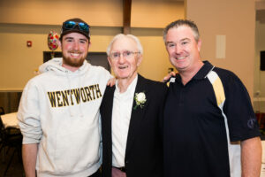 Three generations – (l to r) Tommy McAuliffe III, Tom McAuliffe Sr. and Tom McAuliffe II – gather at Tom Sr.'s 85th birthday party in 2019.