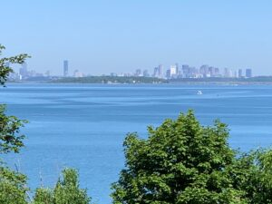 Vistas of the Boston skyline can be seen from World's End in Hingham.