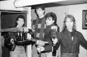 Gathered in the cellar/dressing room of Bunratty's in Allston in the mid-1980s are The Fools' bandmates (l to r) Joe Holaday, Mike Girard, Leo Black and Rich Bartlett. Photo/submitted