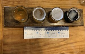 A flight of craft beers from Jack's Abby Craft Lagers in Framingham