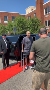 Ralph got a celebratory red carpet treatment as he left rehab for the ride home in a limo his family arranged for.