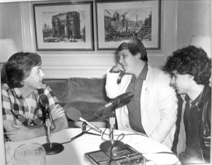 (l to r) Sir Paul McCartney, WBCN Production Director Tom Sandman and Cha-Chi Loprete during an interview in New York City in 1984