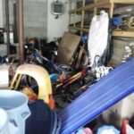 A garage in a state of clutter