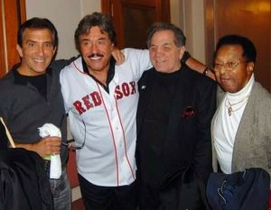 Gathered at Lowell Memorial Auditorium in 2010 are (l to r) longtime friends Pat Benti and Tony Orlando with Tony DeMarco, the 1955 world welterweight champion, and the late Little Joe Cook of The Thrillers.