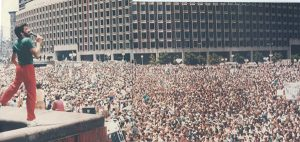 Pat Benti sings for 1.5 million Boston Celtics' fans at City Hall Plaza as they celebrate the team's 16th NBA championship. Then-Mayor Raymond Flynn declared June 10, 1986 Celtics Pride Day.