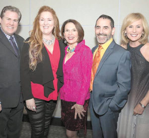 "Performers of Upstage Lung Cancer's fall 2018 concert, ""Barbra, Bette & Bernadette"": (l to r) Michael Hammond, Paula Markowicz, Hildy Grossman, Brian De Lorenzo and Candy O'Terry"