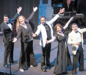 "Performers of Upstage Lung Cancer's fall 2017 concert, ""From Bench to Broadway"": (l to r) John King, Paula Markowicz, Darvon Monroe, Hildy Grossman and Brian De Lorenzo"