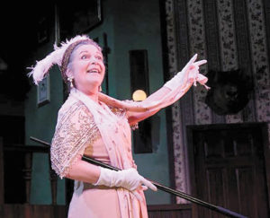 """Margaret Ann Brady in her IRNE Award-nominated performance as Miss Tweed in """"Something's Afoot"""" at Greater Boston Stage Company"""